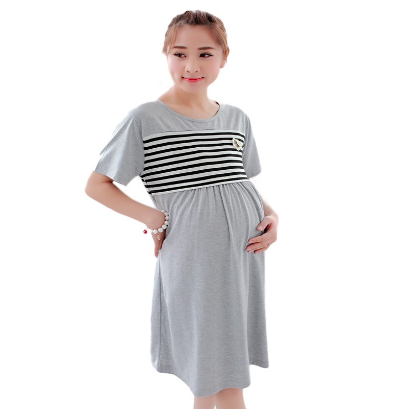 Plus Size Pregnancy nightie Maternity nightgown clothes for pregnant women shirt Dress for feeding Clothing for breastfeeding