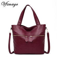 Vfemage Soft Leather Bag Women Handbags Large Capacity Tote Bag Female Shoulder Bag Ladies Top-Handle Messenger Bags Sac a Main все цены