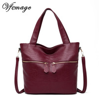 Vfemage Soft Leather Women Handbags Large Tote Bag Female Shoulder Bag Casual Feminine Top Handle Messenger Bags 2019 Sac A Main