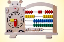 Bear cartoon subtraction arithmetic calculation rack rack multifunction digital arithmetic disc clock puzzle toys