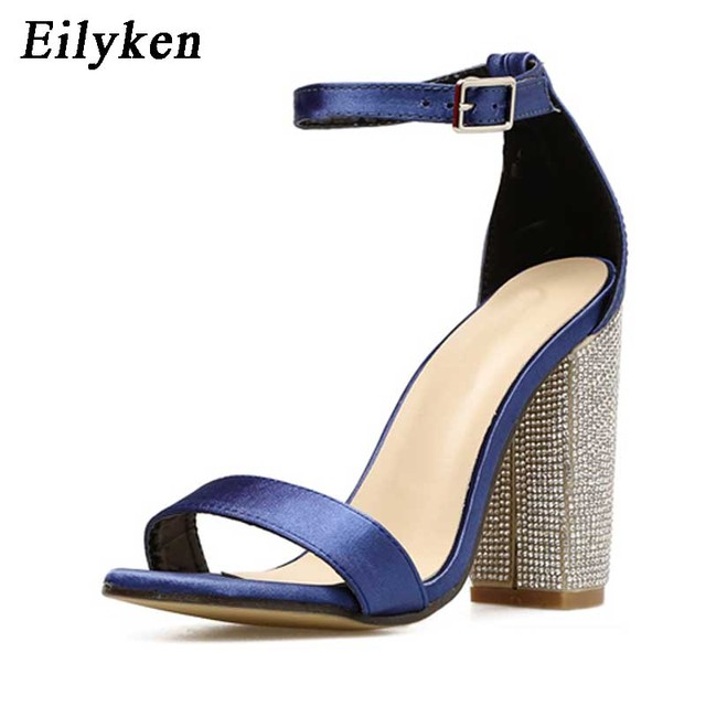 Eilyken Silk Blue Sandals Women Shoes Summer Crystal Ankle Strap High Heels  Ladies Shoes Buckle Strap Women Pumps Size 35-40 4553955854b2
