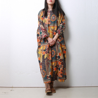 LZJN Plus Size Cotton Dress Women Ethnic Long Shirt Dresses 3/4 Sleeve Gown Vintage Robe Femme Autumn Jumper Dress Elbise PX1868