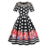 1950 S Vintage Dress Patchwork Casual Elegant Retro Plus Size Dresses Party Dot Club Evening Black