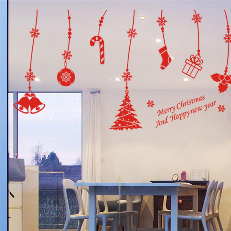 merry christmas sleigh tree stocking bells wall stickers room decor 02. diy vinyl gift home decals festival mual art poster 5.0
