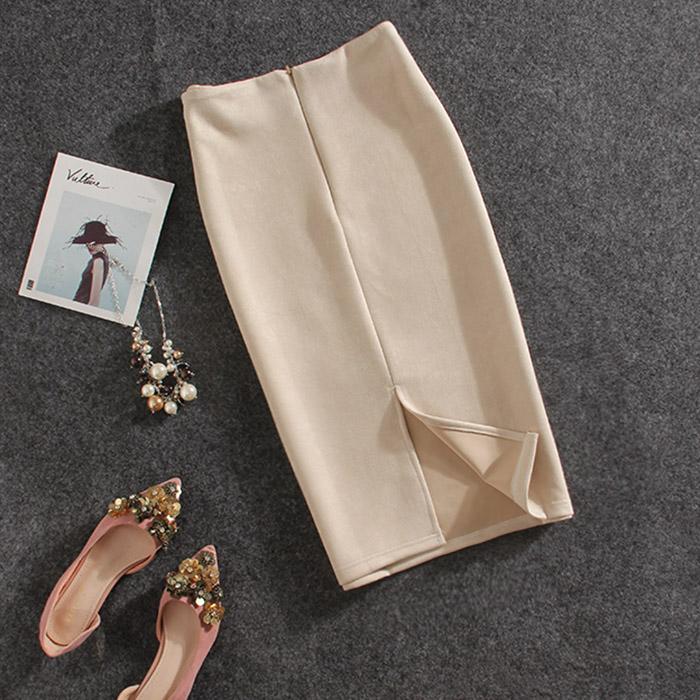 new arrival women formal solid Pencil Skirt high quality split slim Autumn knee-length Suede leather pencil skirt stretch