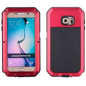 Image 4 - Su geçirmez darbeye dayanıklı telefon kılıfları Samsung Galaxy S6 S6edge S7 S7Edge ARTı NOTE4 5 Metal Alüminyum Sağlam Temperli cam kapak