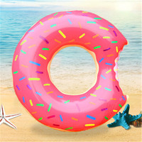 Inflatable Donut Swimming Ring Giant Pool Float Toy Circle Beach Sea Party Thickened PVC Summer Floating Ring Seat Toys 126cm