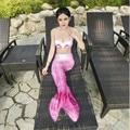 La nueva muchacha de lujo natación cola de sirena dress cosplay traje de halloween para las mujeres colas sirena señoras playa de arena de natación ropa