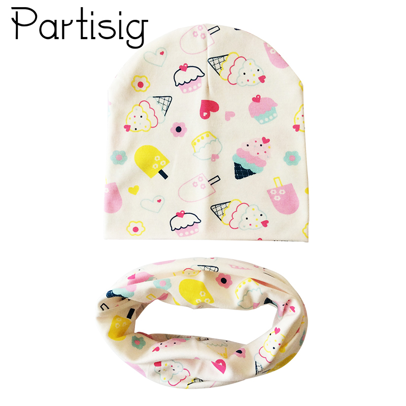 Partisig Baby Cap Ice Cream Print Cotton Baby Hat Scarf For Girls And Boys Cute Kids Hats Caps Children 2pcs Set