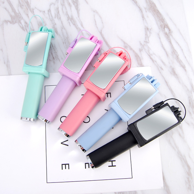 HOTR Mirror Selfie Stick Monopod Premium Quality Wired Selfie Stick Extendable for iPhone 6 Plus 5 5s 4s For Samsung S8 plus s7