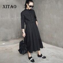[XITAO] 2017 nova moda de verão Japão vento feminino cor sólida de três quartos pullover manga drapeado mid-calf vestido TXN046