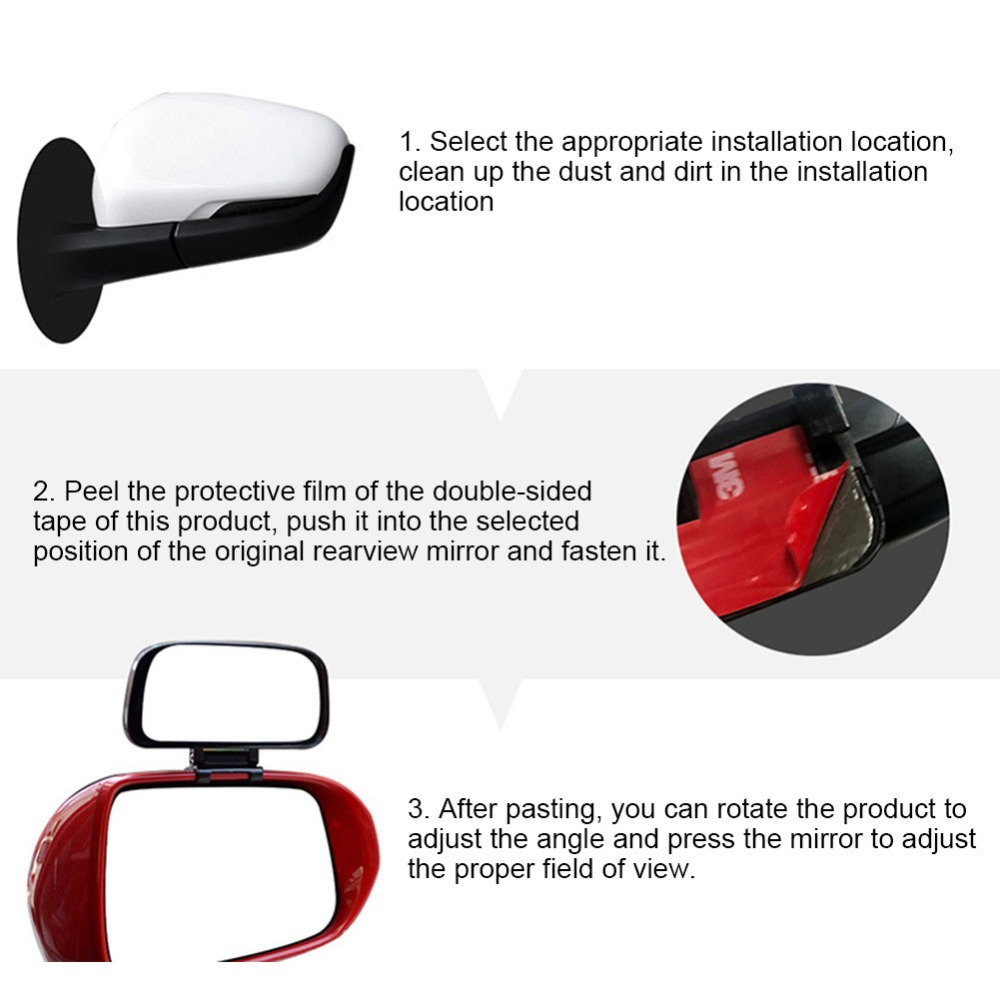 Rotation Adjustable Rearview Mirror Wide Angle Lens Car Blind Spot Mirror 10