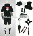 Amime Naruto Cosplay Costumes Uchiha Sasuke segundo negro hombres de traje conjunto con armas fiesta de Halloween Cosplay