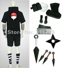 Amime Наруто Костюмы для косплея Саске 2nd черный Для мужчин костюм набор с Книги об оружии Halloween Party Косплэй