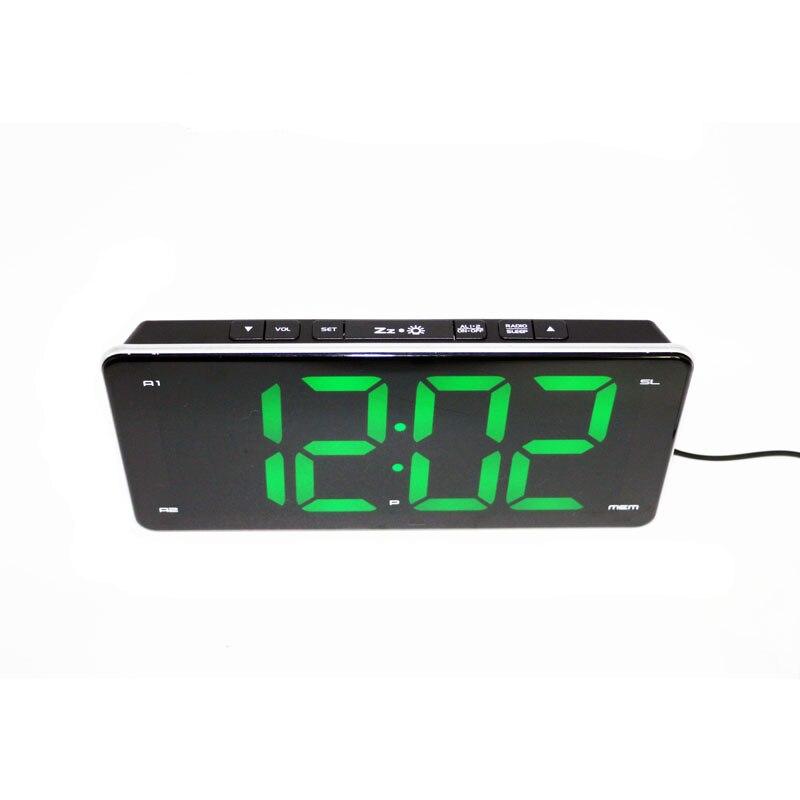 Horloge électronique LED radio double alarme lumière noir réglage réveil compteur