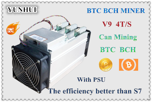 YUNHUI AntMiner V9 4T/S Bitcoin Miner (with power supply) Asic Miner Newest 16nm Btc Miner Bitcoin Mining Machine Better Than S7 spot goods antminer s5 1155 gh s asic miner bitcon miner 28nm btc mining sha 256 miner power consumption 590w
