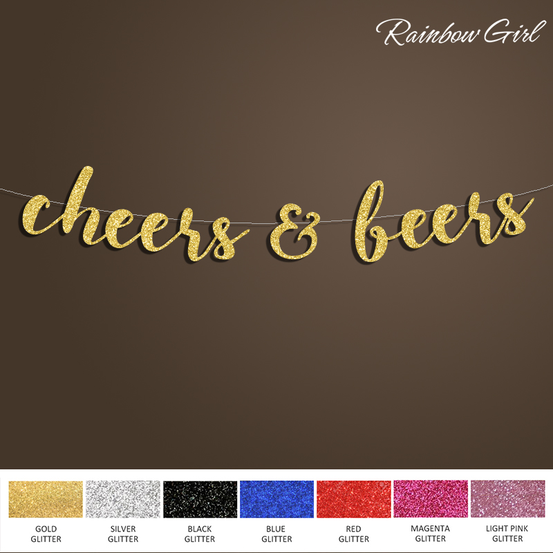Cheers & Beers Banner,Gold Glitter Sign Backdrop,Banner Bridal Shower/Birthday/Bachelorette/Wedding Party Decorations Supplies