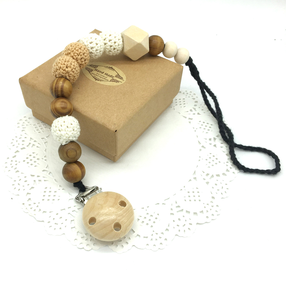 2017-new-20mm-grey-black-gradient-baby-white-pacifier-clip-dummy-holder-cotton-chain-natural-beech-wooden-beads-crochet-nt206