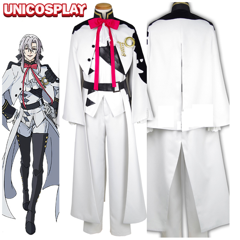 Seraph of the End Ferid Bathory Cosplay Costume Owari no Serafu White Vampire Uniform Men's battle Suit Jacket With Cloak