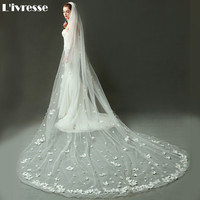 New Pencil Edge Long Wedding Veil With Comb Tulle With Appliques Single Layer Bridal Veil Ivory Wedding Accessories
