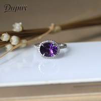 DUPUY Elegant Amethyst Ring Oval 0.24ct Diamond Wedding Ring Classic 14k White Gold Ring Accessories Bague De Mariage D180015