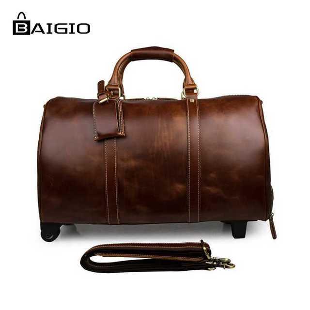 Baigio homens rolando bagagem saco saco de viagem grande capacidade de couro genuíno sacola do desenhista transportar em sacos de ombro dos homens saco de viagem