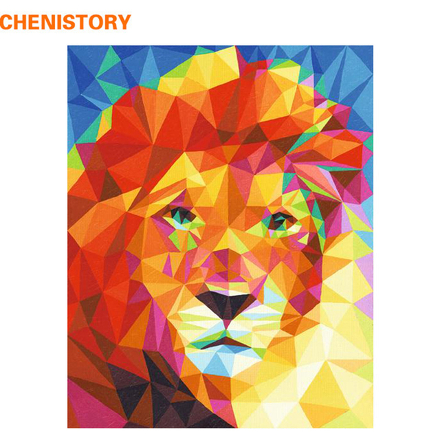CHENISTORY Pre-Framed Lion DIY Painting By Numbers Animal Modern Wall Art Picture Acrylic Paint On Canvas For Home Decor Artwork