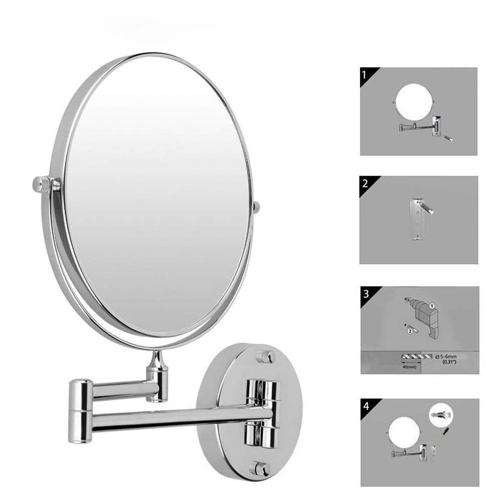 Hot Chrome Round Silver Extending 8 inches cosmetic wall mounted ...