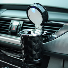 Car Accessories Car Styling Mini Portable LED Light Car Ashtray Universal Cigarette Cylinder Holder Car Ashtray(China)