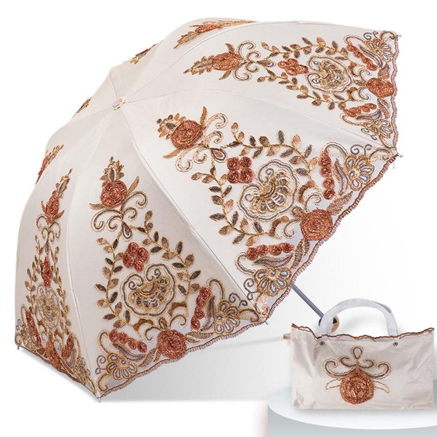 Dentelle pluie soleil parapluie mariage femmes Protection UV magique Portable clair Parasol pliant Guarda Sol luxe dames parapluie 40S100 - 2