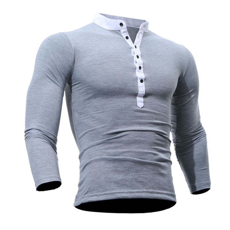 Mens clothing Casual Long Sleeve T Shirts Solid Color Button Shirts Tops fashion tshirts