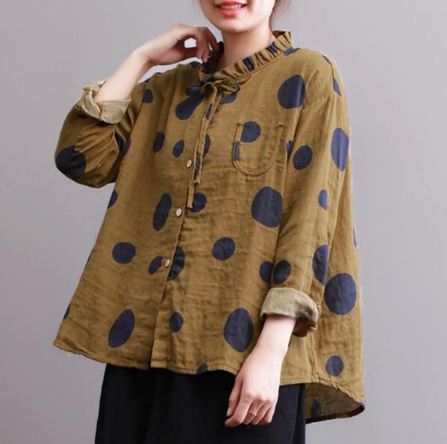 Linen Dot Sleeved yellow Retro Cotton Hippie Polka Blouse Coffee green Long Vintage Bohemian Boho Ruffle Casual Harajuku Bow Fall Women Shirt Top nqI1zOw0B