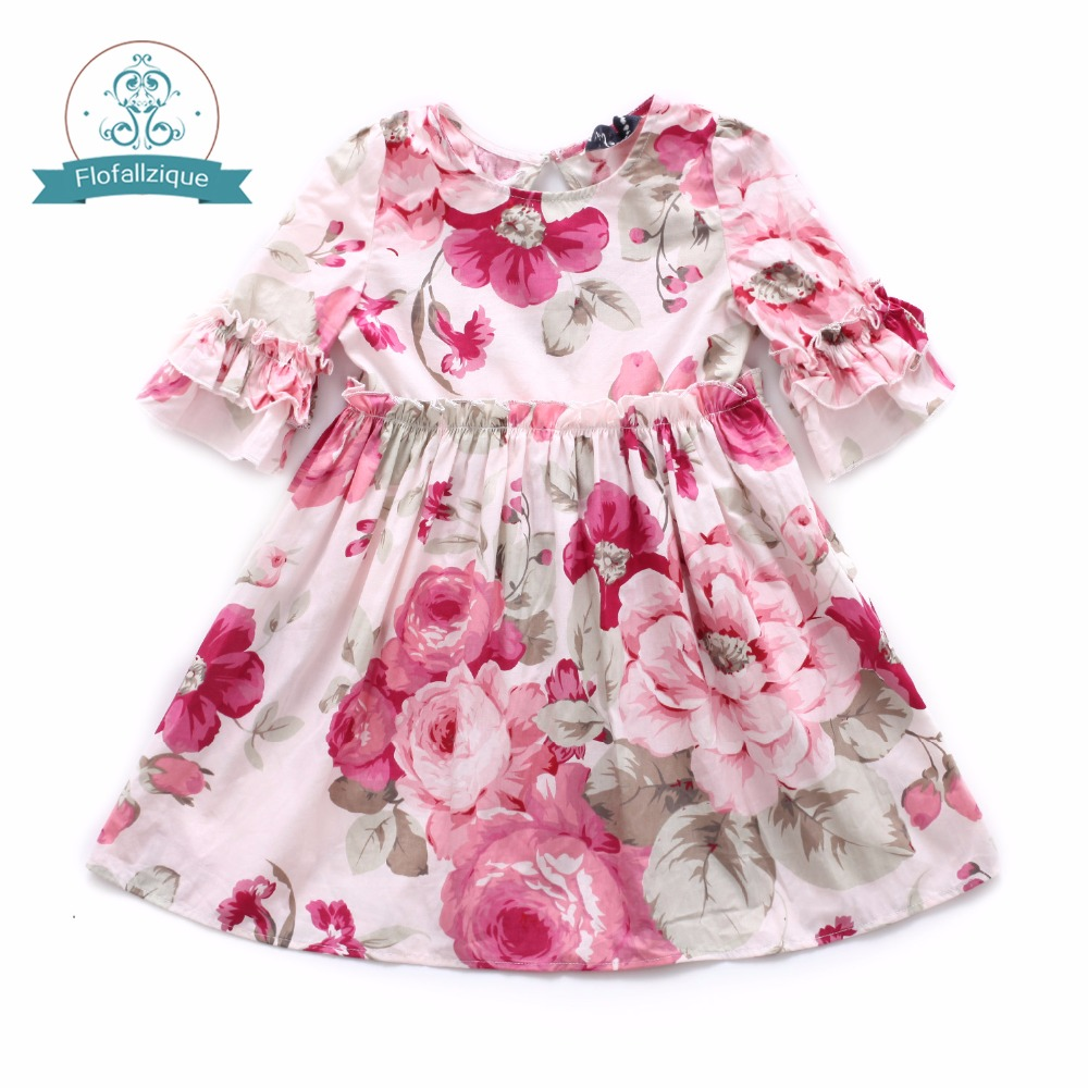 Baby Girls Dress 2018 Summer Casual Style Ruffles Floral Print Princess Dresses For Girls Toddler Girl Clothing 1-8Yrs girls summer casual bow print floral lace dress children s clothing girls fashion princess dress baby girl 13 age clothes