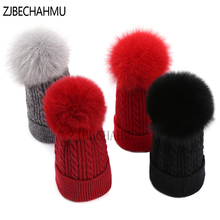 Real Fox Fur Pompoms 15CM Hats Winter Hat Wool Rabbit Solid Warm Skullies For Women Girl Snapback Apparel Accessories