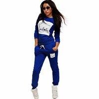 Dwuczęściowy Zestaw Kobiet Dres 2017 Jesienne damskie Garnitury Moda list Bluza Kufel I Elastyczna Talia Długie Spodnie 2 Sztuka zestawy