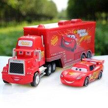 Disney Pixar Carros 2 Brinquedos 2 pcs Relâmpago McQueen de Construção Da Cidade Mack Caminhão Do Rei 1:55 Diecast Metal Modelo Figuras Para crianças