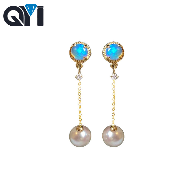 QYI Akoya Pearl Earrings Natural Round Blue Opal Real Diamond 18K Yellow Gold Earrings For Woman Wedding Jewelry