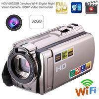Wi Fi Цифровая камера HD 1080 P видеокамера ночного видения 8MP 16X Zoom COMS сенсор дюймов 3 дюймов TFT ЖК экран Беспроводная камера