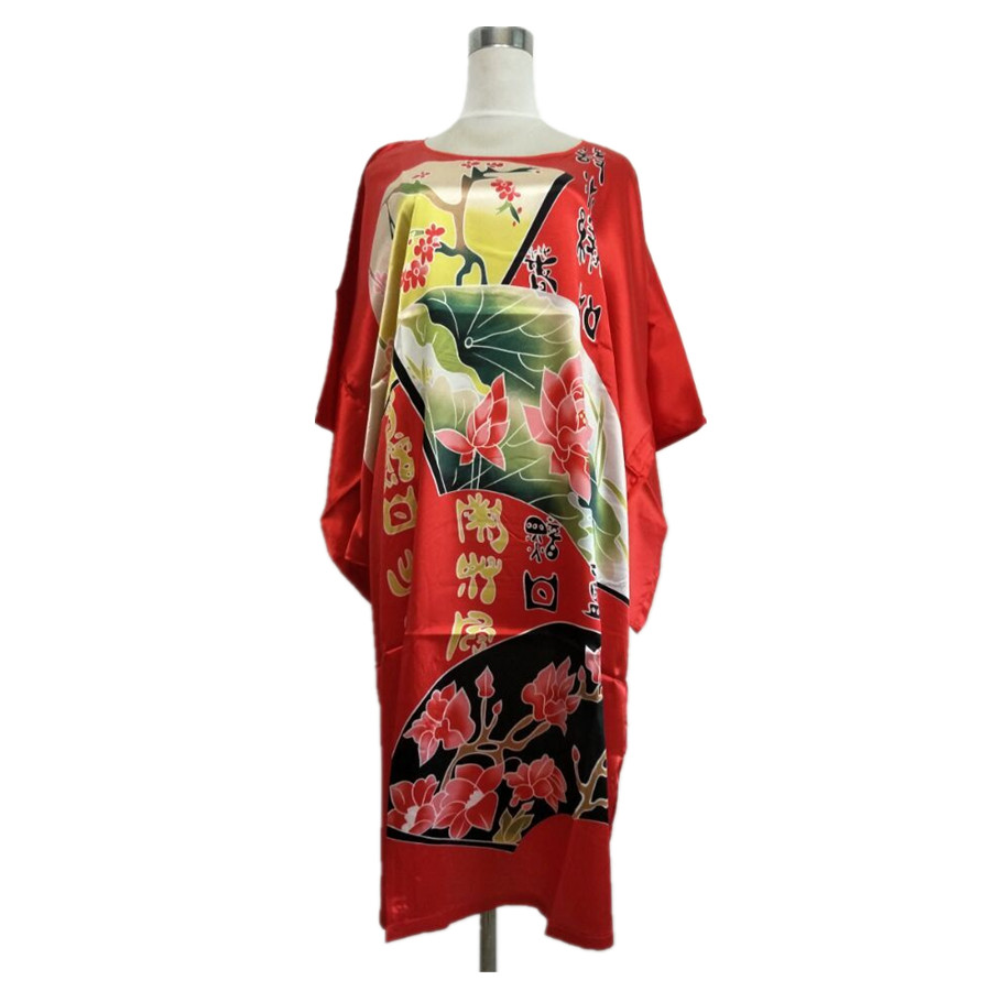 Hot Sale Red Size Female Faux Silk Bath Robe Gown Summer Lounge Looose Sleepwear Print Nightdress Women Sexy Nightgown