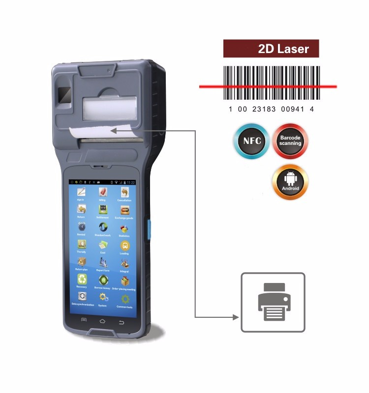 Android Pos Terminal with 2 inch thermal printer and NFC reader and 2D barcode reader