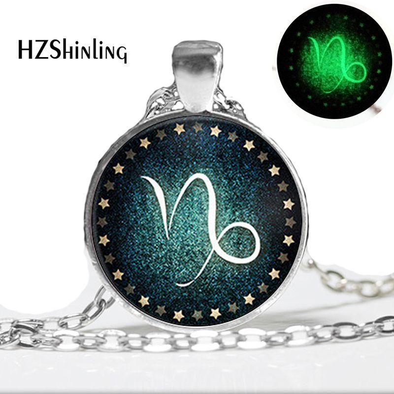 Glow in the dark jewelry Capricorn Necklace Zodiac Sign Pendant Jewelry glass art photo glowing necklace pendant