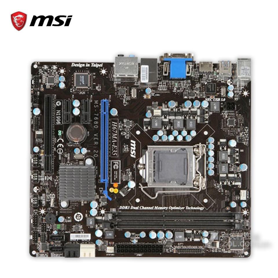 Original MSI H67MA-E35 Desktop Motherboard H67 Socket LGA 1155  i3 i5 i7 DDR3 16G SATA3 Micro-ATX 100% Fully Test used motherboard mainboard for msi h67ma e35 lga 1155 ddr3 16gb usb2 0 usb3 0 vga dvi hdmi micro atx board