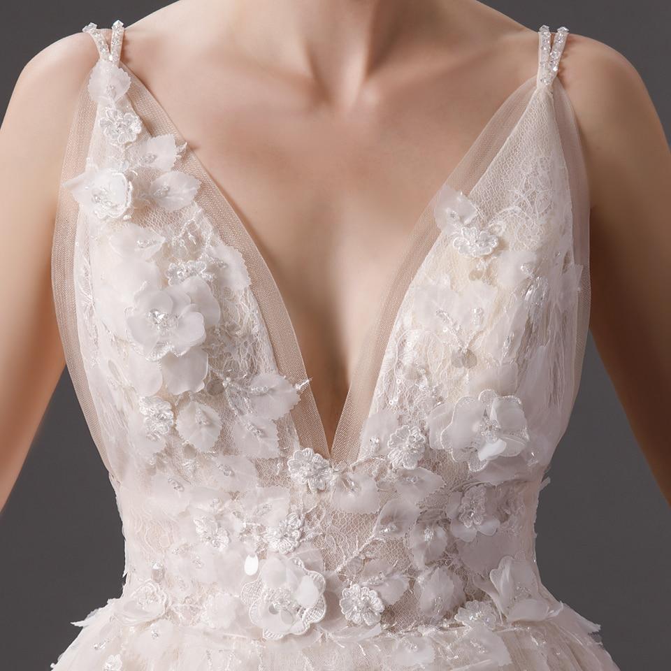 Ivory Deep V Neck Lace Long Beach Wedding Dress