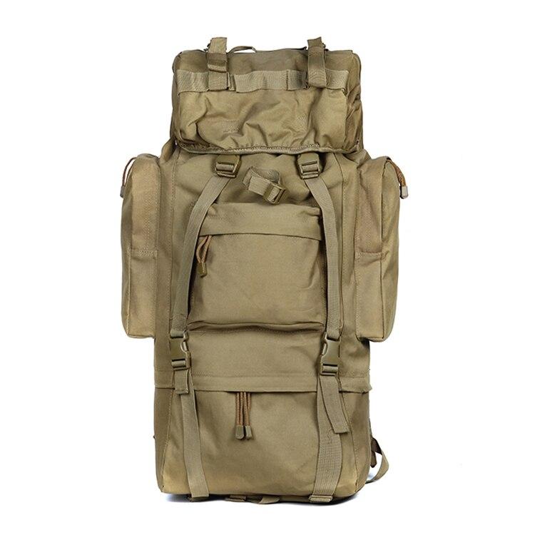 Grote Capaciteit 65L Man Tactische Travel Back pack Buiten Camping Wandelen Tas voor Mountaineer Regenhoes Metalen Frame Klimmen