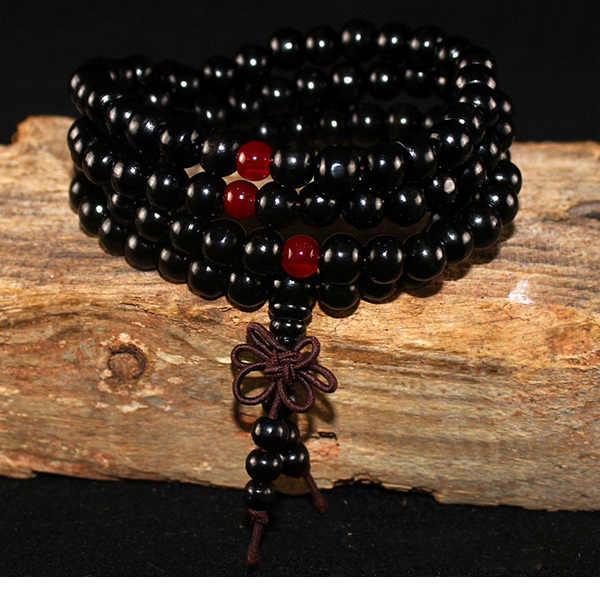 Pulseras y brazaletes Unisex de ébano negro, cuentas de 8mm de sándalo Natural, Buda budista, oración de madera, nudo con cuentas