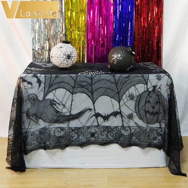 Halloween Spider Web Tablecloth 155*210cm Ghost Pumpkin Table Cover For  Halloween Decoraiton Festive Party