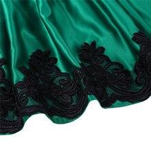 Kids Embroidered Green Satin Dress