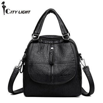 Multifunction Leisure Women Backpack Leather Backpacks Female School Shoulder Bags for Teenage Girls Travel Back Pack