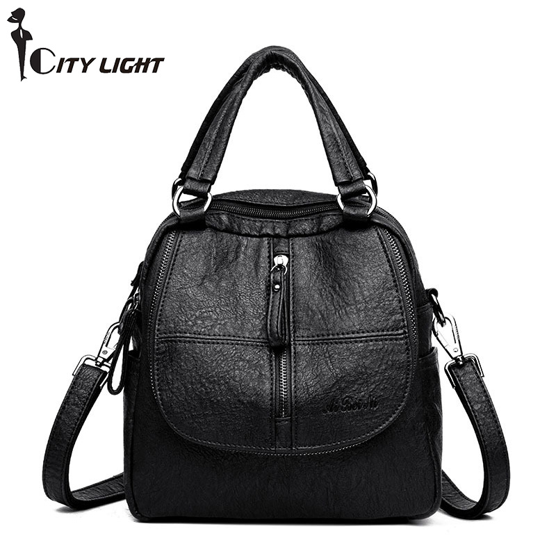 Multifunction Leisure Women Backpack Leather Backpacks Female School Shoulder Bags for Teenage Girls Travel Back Pack fashion women backpack black soft leather backpacks female school shoulder bags for teenage girls travel back pack sac a dos