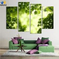 4 Pannello Astratto Stampato Stil Vita Verde Foglia Pittura Su Tela Picture Cuadros Decoracion Cucina pittura Senza Cornice